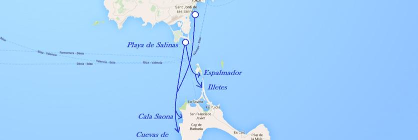 ruta de cuevas en formentera en barco