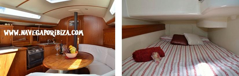 interior del velero la bella lola barco en ibiza