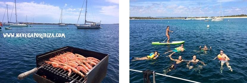 barbacoa en barco en ibiza