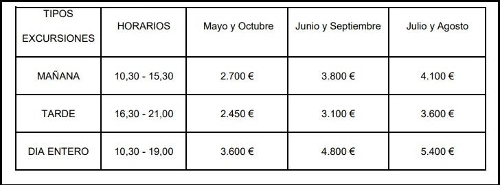 precios horarios catamaran