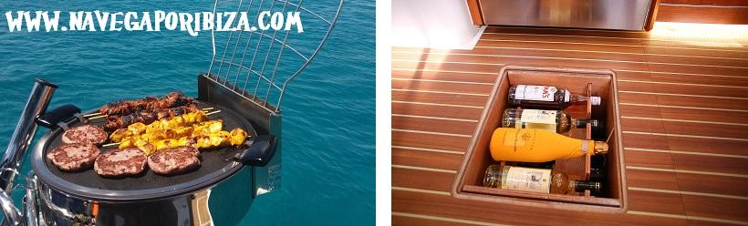 detalles de lujo par alquilar barco en ibiza