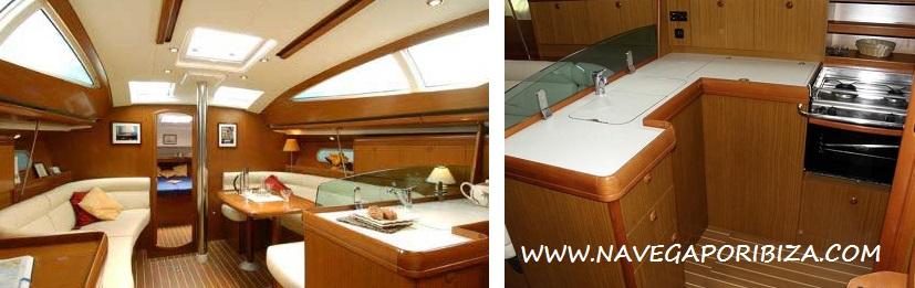 velero en ibiza, cuidado impecable del interior